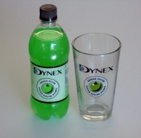Water-glcol pump soda promotion with bottle and glass