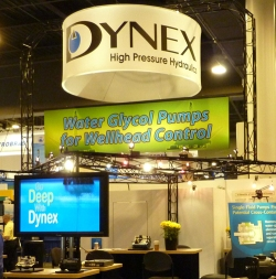 Dynex Logo Sign at OTC trade show